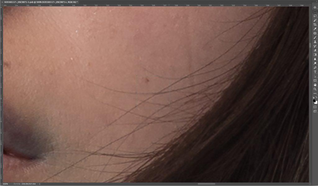 バレ消し-髪の毛の交差する部分は色が濃くなっているので注意
